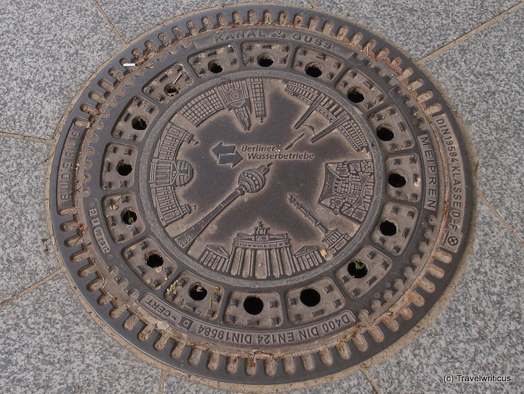 Berlin main sights on a manhole cover