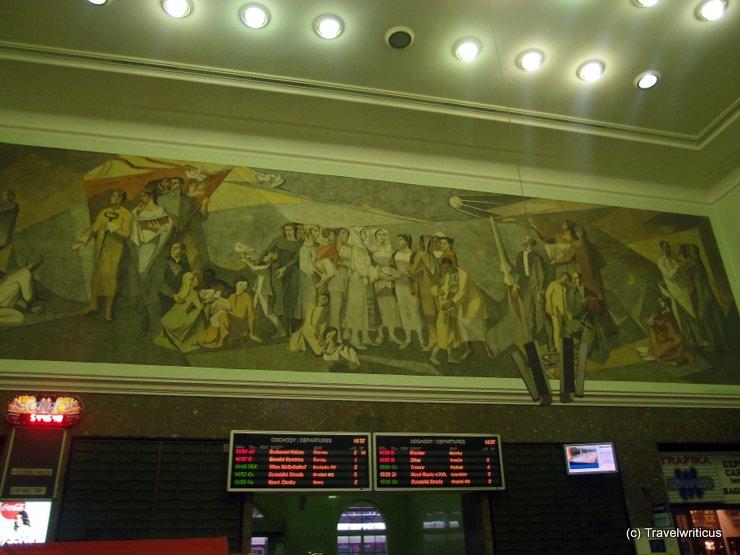 Mural at the main railway station of Bratislava, Slovakia