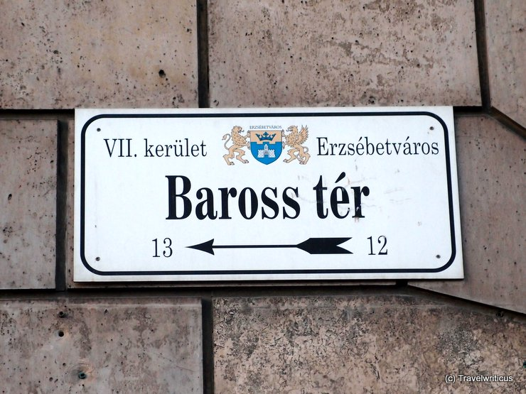 Street name sign in Budapest, Hungary