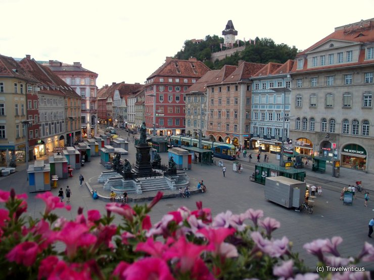 View of the main square in Graz, Austria