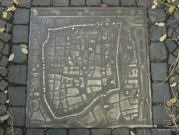 Map of the Roman town wall of Cologne, Germany
