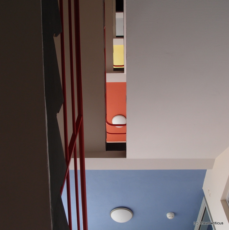 The colourful stairwell of the Bauhaus building