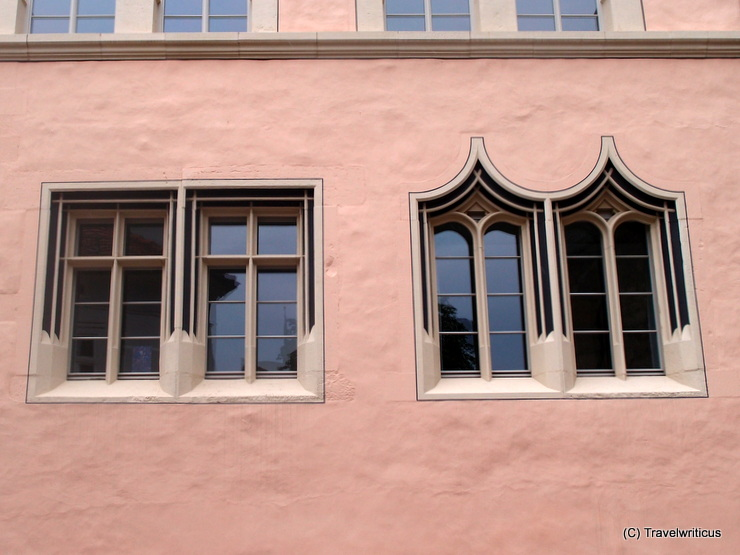 Gothic windows of the Collegium Maius in Erfurt, Germany