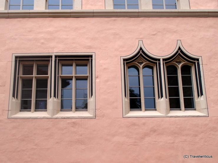 Gothic windows of the Collegium Maius in Erfurt, Germany
