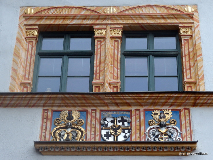 Renaissance windows and coat of arms at the 16th century Comthurhof in Erfurt