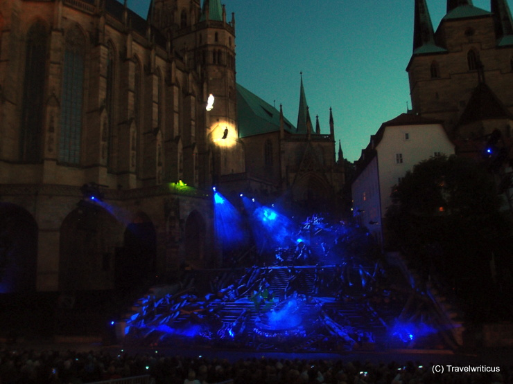 Festival in front of Erfurt Cathedral (Domstufen Festspiele) in Thuringia, Germany