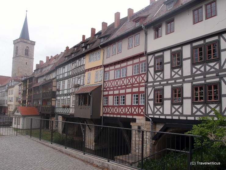 Bridge covered with 32 inhabited houses: Krämerbrücke in Erfurt, Germany