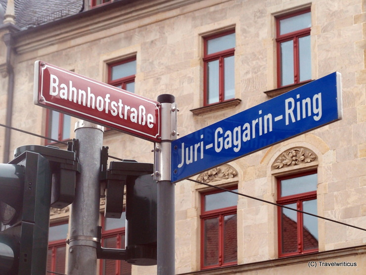Red and blue street signs in Erfurt, Germany