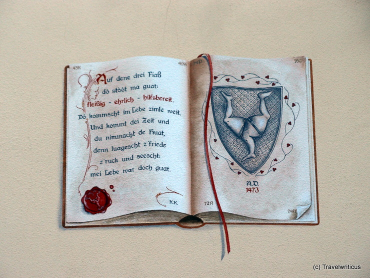 A trompe-l'œil featuring a book in Füssen, Germany