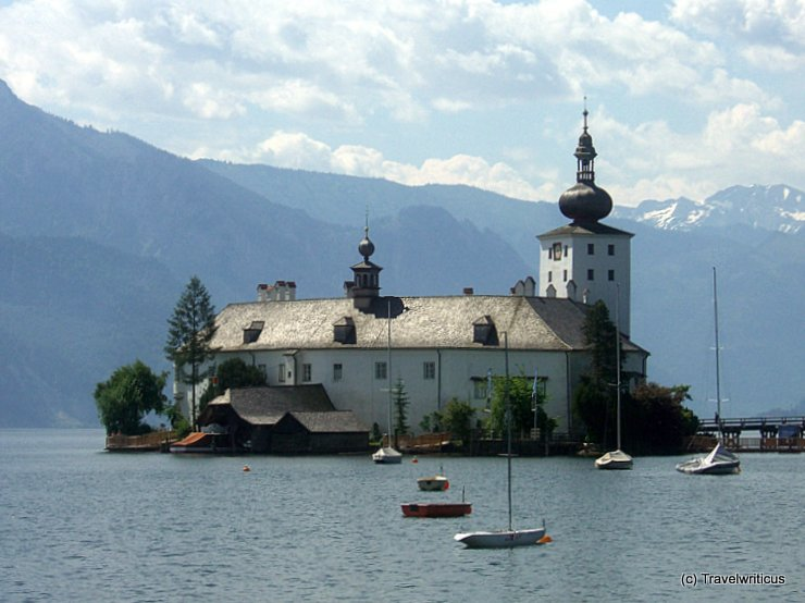 Lake view of Ort Castle in Gmunden, Austria
