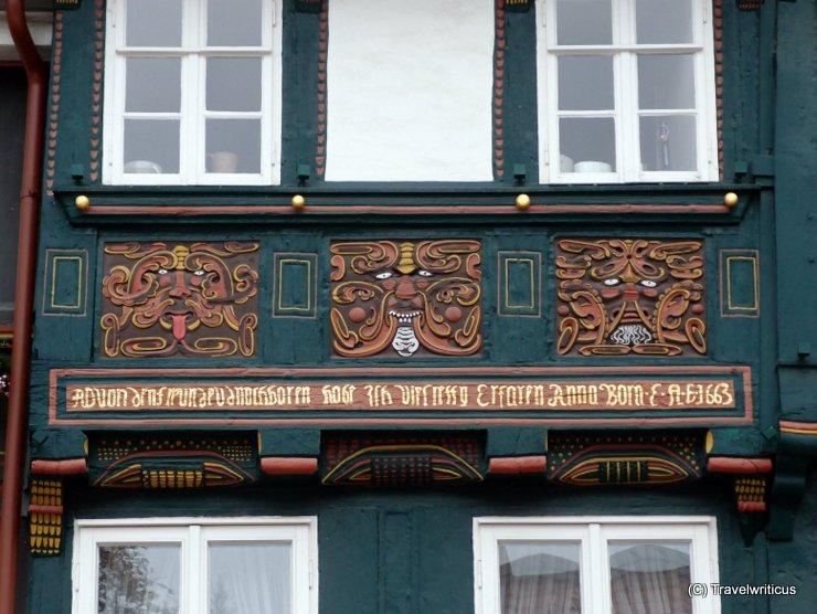 Strange faces at the Schuhhof in Goslar, Germany