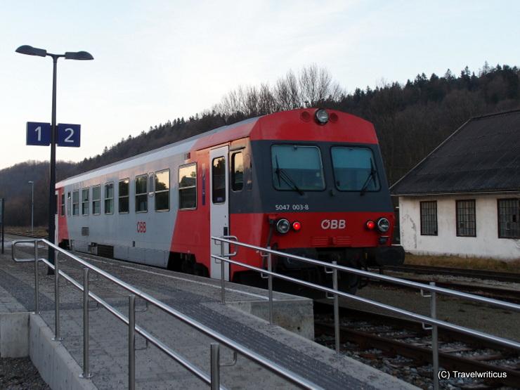 Diesel railcar ÖBB 5047 at the railway station of Hainfeld, Austria