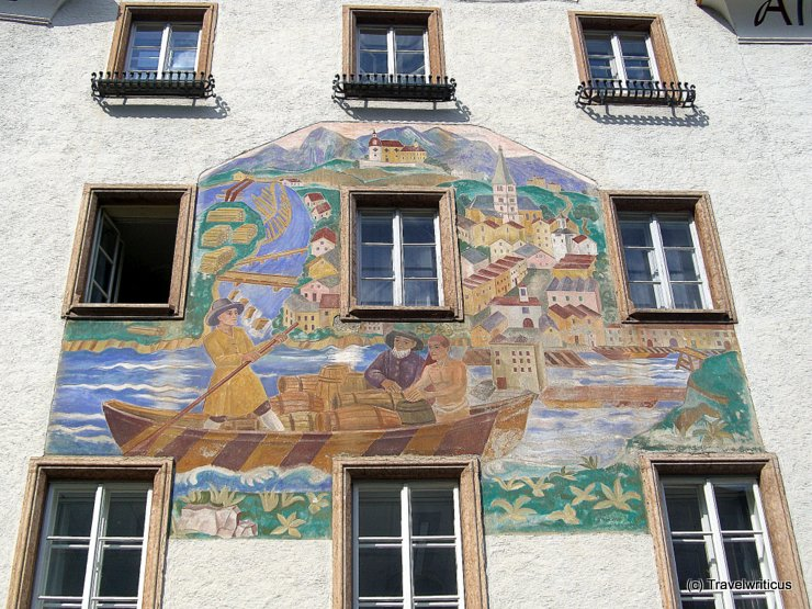 Mural at the town hall of Hallein, Austria
