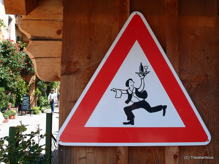 Fun traffic sign in Hallstatt, Austria