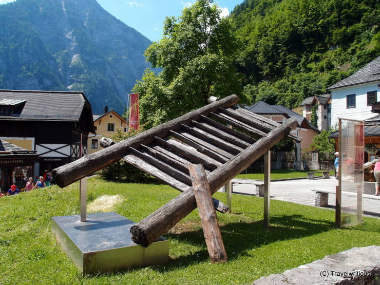Replica of a wooden staircase (Bronze Age) in Hallstatt, Austria