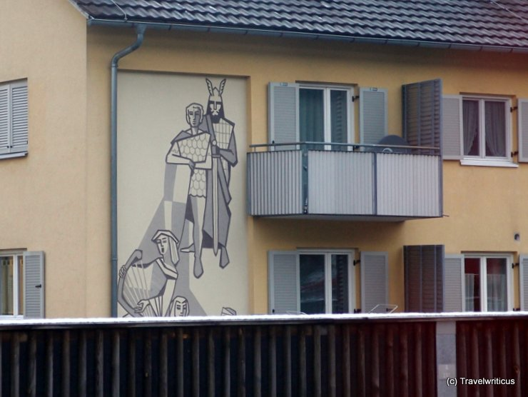 Mural refering to the 'Song of the Nibelungs' in Hohenems, Austria