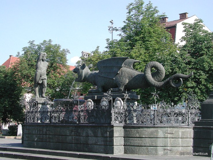 Lindworm fountain in Klagenfurt, Austria