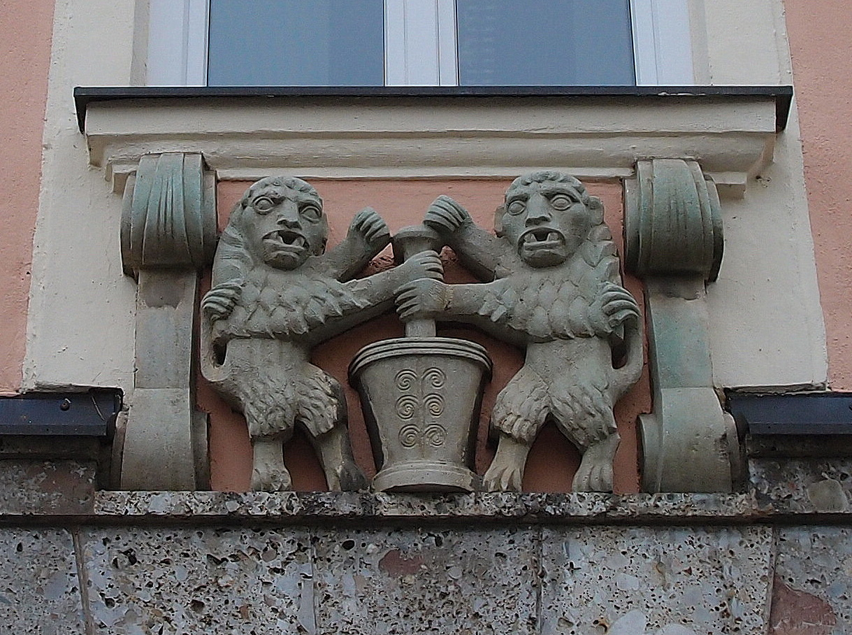 Two lions as a house sign of the pharmacy