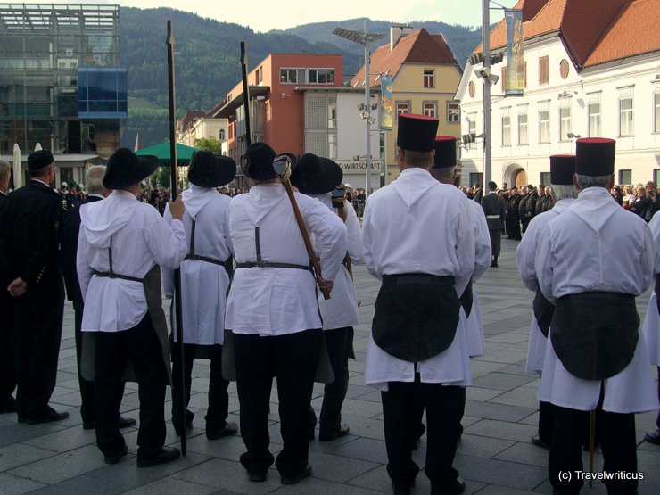 Miners wearing an 'Arschleder' at the central place of Leoben