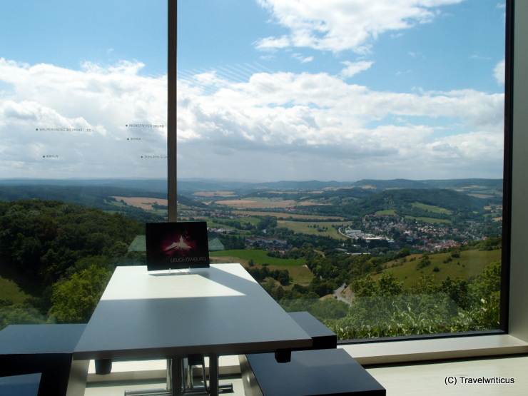 View from the visitor centre of Leuchtenburg Castle in Thuringia, Germany
