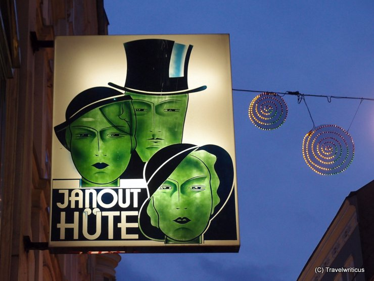 Shop sign at a hat shop in Linz, Austria