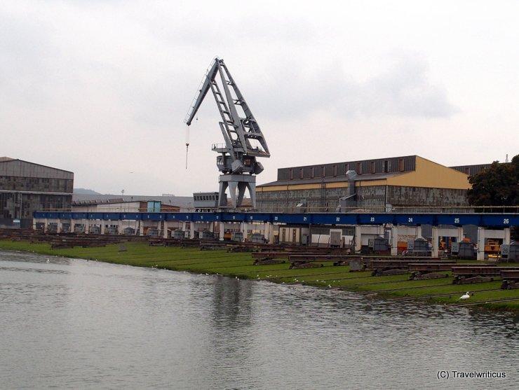 Slipway of the ÖSWAG shipyard in Linz, Austria