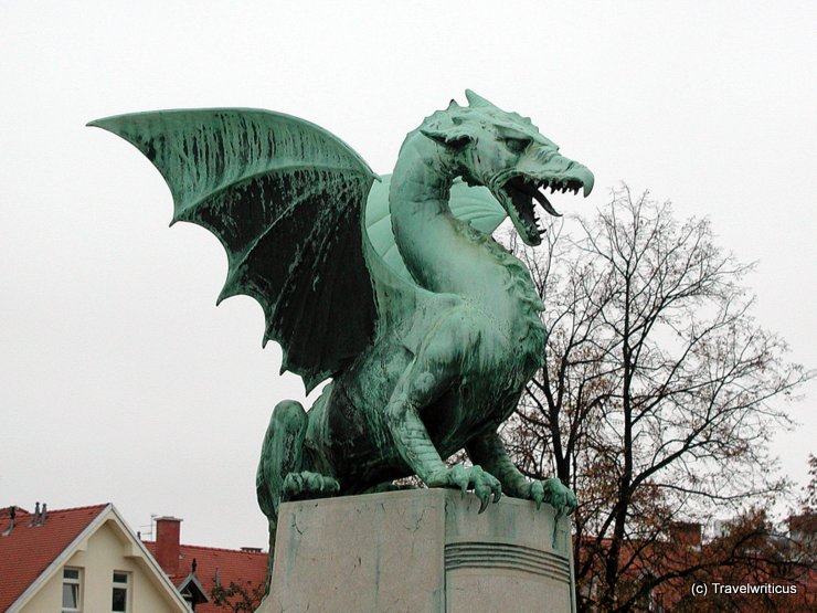 Sculpture at the dragon bridge in Ljubljana, Slovenia