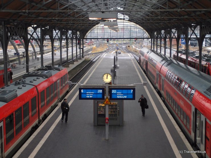 Platform hall of the main railway station in Lübeck, Germany