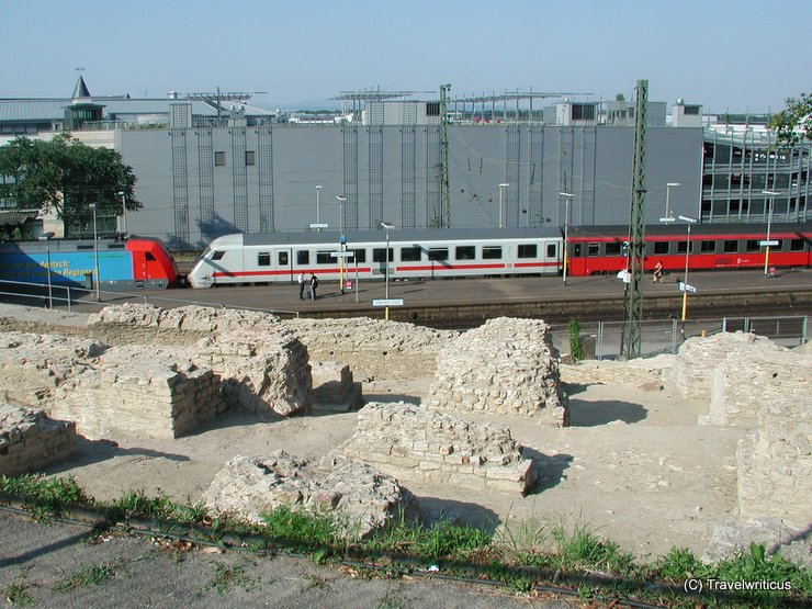 Ancient Roman theatre next to a railway station in Mainz, Germany