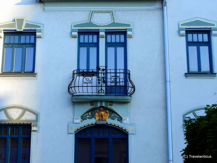 Detail of an art nouveau building (Houste to the Blue Grape) in Mariazell, Austria