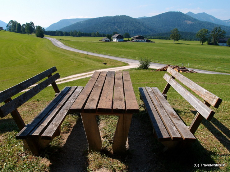 A place for having a break along the nature trail about herbs in Mariazell, Austria