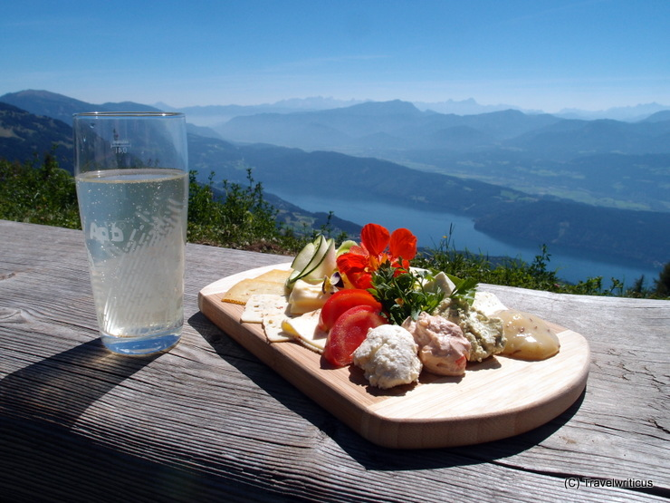 Cheese platter at the Alexanderhütte high over Millstatt Lake, Austria