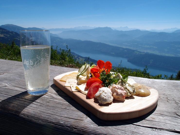 Cheese platter at the Alexanderhütte high over Millstatt Lake, Austria