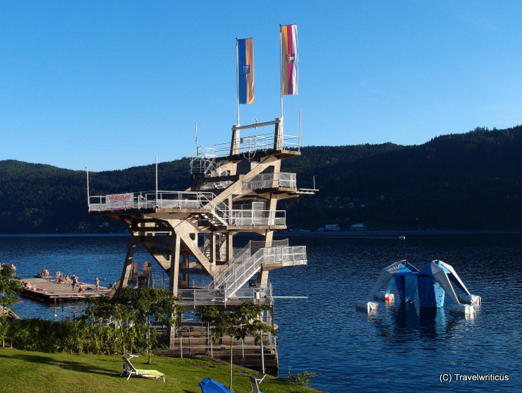 Diving platform built in the 1930s in Millstatt, Austria