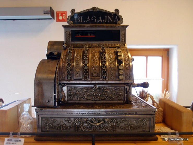 Vintage cash register at a ham manufacture in Murska Sobota, Slovenia