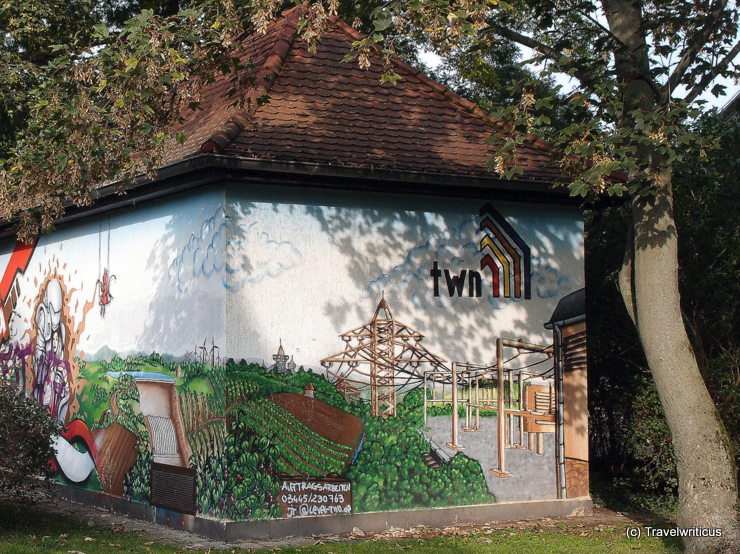Mural on an electrical substation in Naumburg (Saale), Germany