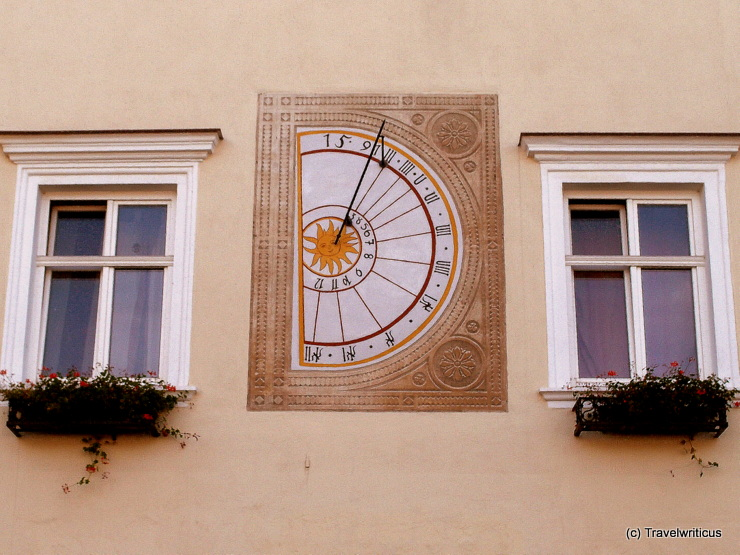 Sundial at the main square of Neunkirchen, Austria