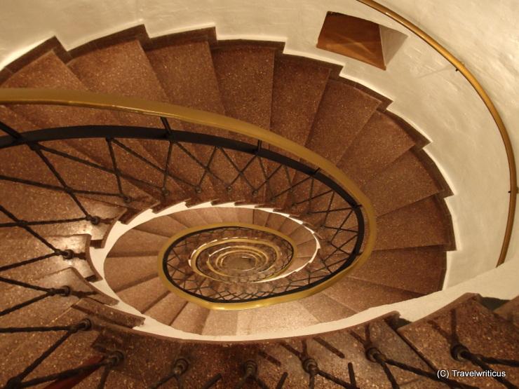 Staircase inside a tower named Luginsland in Nuremberg, Germany