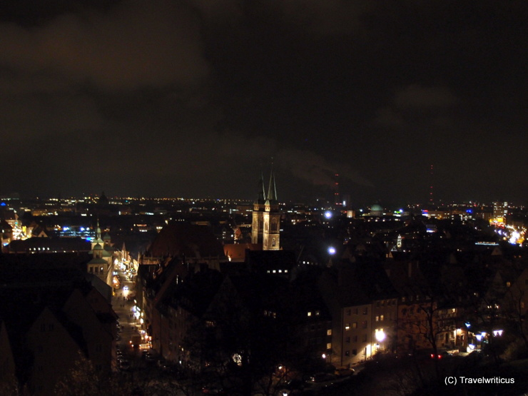 Night view from the youth hostel on top of the castle hill in Nuremberg, Germany