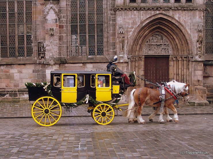 Stagecoach at the Christkindlesmarkt of Nuremberg, Germany