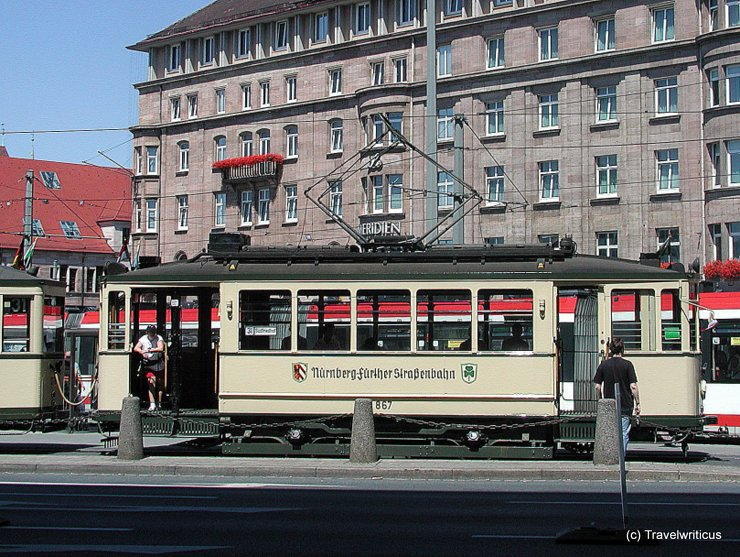 Vintage tramcar in Nuremberg, Germany