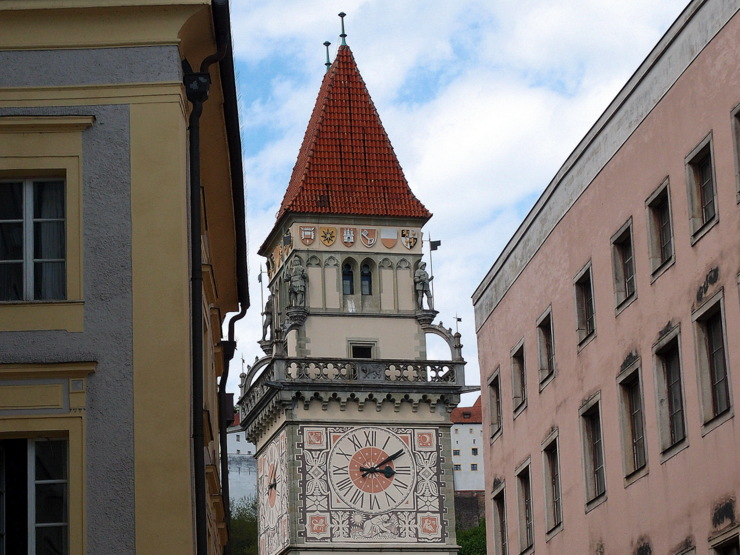 City hall tower in Passau, Germany