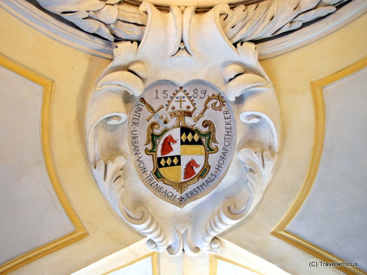 Emblem at the ceiling of the former court pharmacy in Passau, Germany