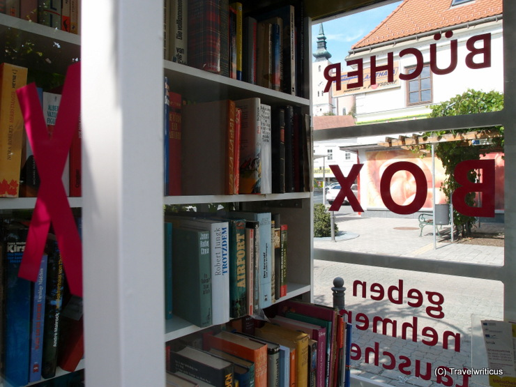 Public library in a former phone box in Poysdorf, Austria