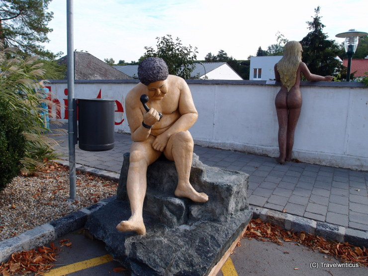 Naked man and woman at the sculpture park in Poysdorf, Austria