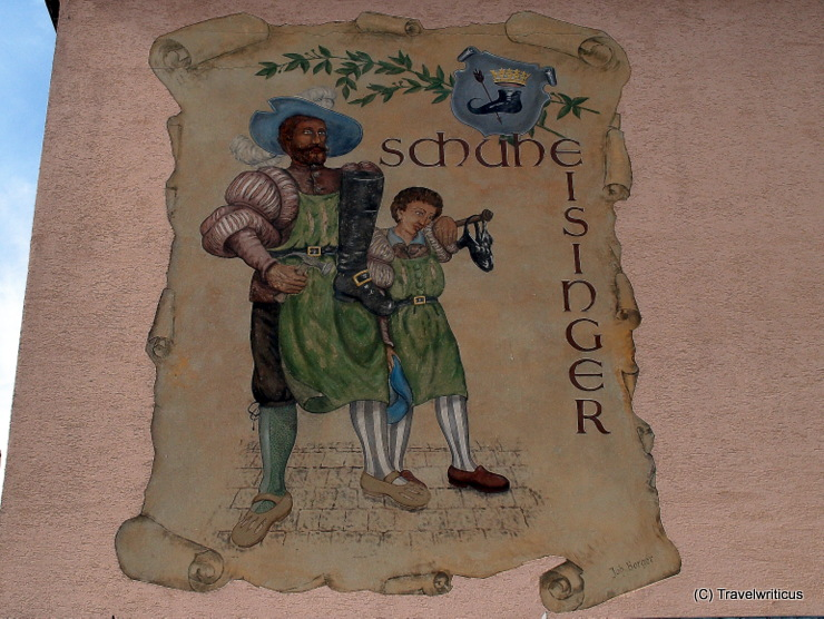 Mural promoting the shoe shop Eisinger in Poysdorf, Austria