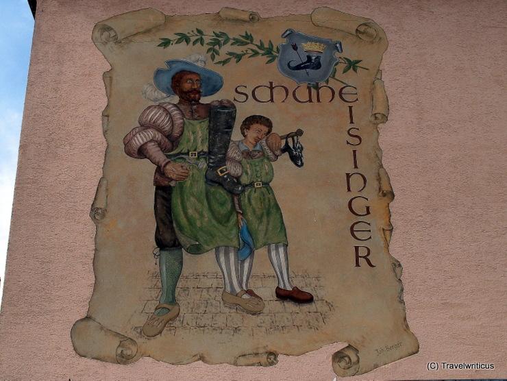 Mural promoting the shoe shop Eisinger in Poysdorf, Austria