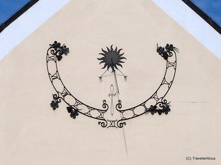 Sundial with grapes in Poysdorf, Austria