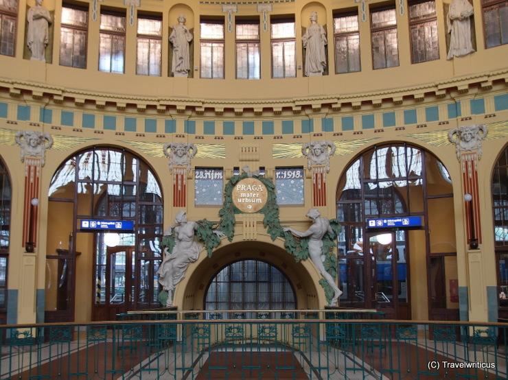 Art nouveaul station hall at the main railway station of Prague, Czech Republic