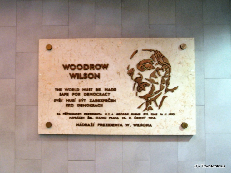 Plaque to Woodrow Wilson at the main railway station of Prague, Czech Republic